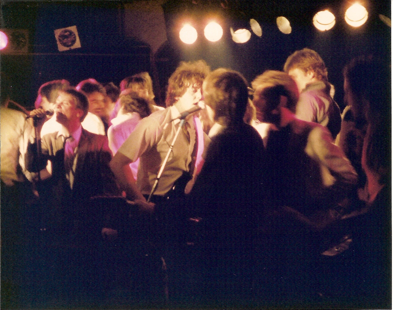 Eagertones at Hall Of Fame, mid 80's, Chris, Sean Onnery, Michael, probably perfoming Romantics What I Like About You, with the crowd on stage, at the Hall Of Fame in Seattle's University District, mid 80's.